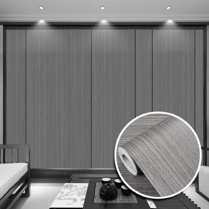 (Wood) Grey Wood Texture Wallpaper Sticker Furniture Renovation Kitchen Cabinet Waterproof PVC Self-adhesive Wallpaper Sticker