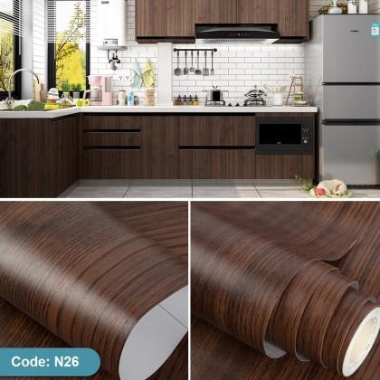 (Wood) Dark Brown Wood Texture Wallpaper Sticker Furniture Renovation Kitchen Cabinet Waterproof PVC Self-Adhesive Wallpaper Sticker