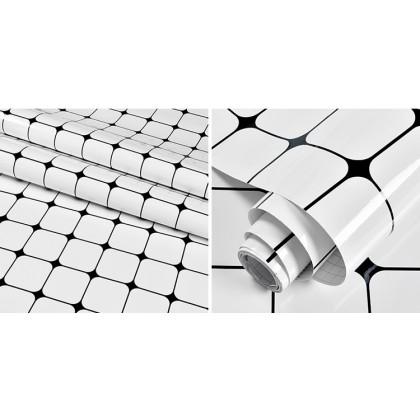 (Tiles) White Color Diamond Lattice Pattern Kitchen Tiles Aluminum Foil Paper Oil-Proof Furniture Renovation Waterproof Wallpaper Sticker