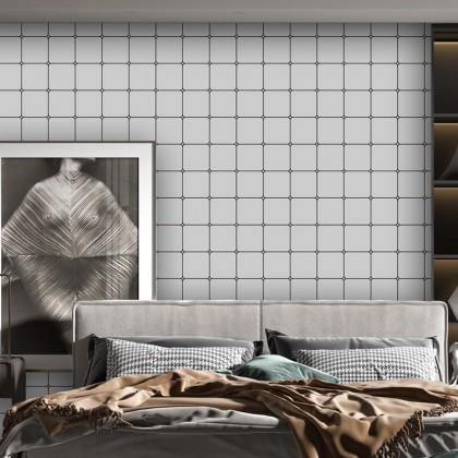(Plain) White Color Diamond Lattice Pattern PVC Bedroom TV Background Wall Decoration Furniture Renovation Waterproof Wallpaper Sticker