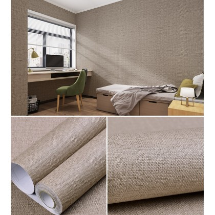 (Plain) Brown Solid Color Flax Texture Background Furniture Renovation PVC Waterproof Self-adhesive Wallpaper Sticker