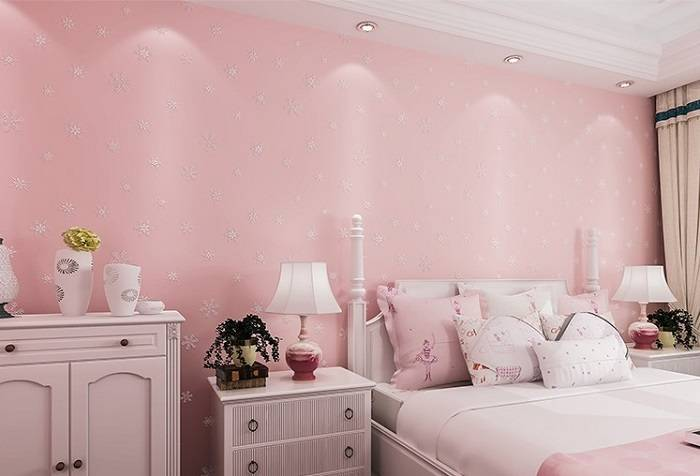 Glow In The Dark Snowflake Pink Wallpaper for Kids and ...
