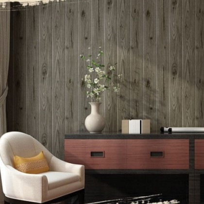 Greyish Brown Wood Vintage Style Home Decoration Wallpaper