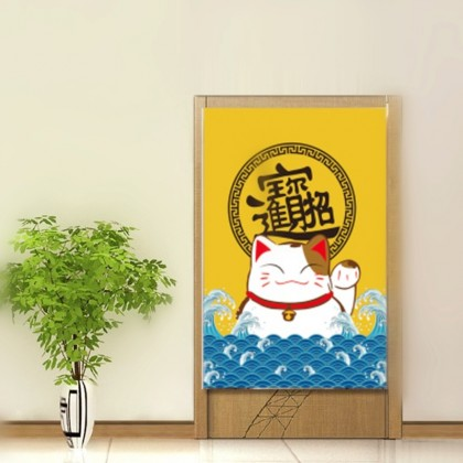 Lucky cat door curtain bedroom partition-CUR 118
