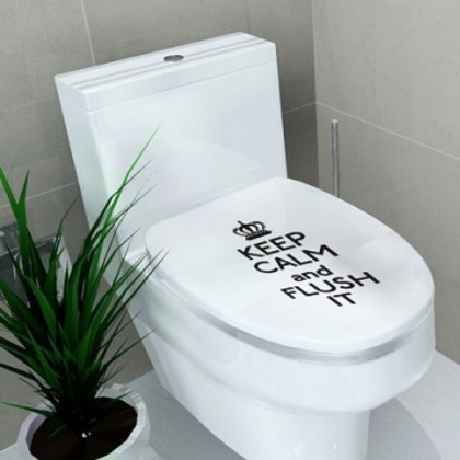 """Keep Calm And Flush It"" Toilet Seat Sticker-TY908"