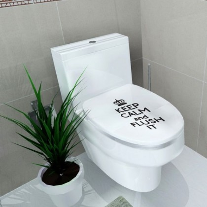 """""""Keep Calm And Flush It"""" Toilet Seat Sticker-TY908"""