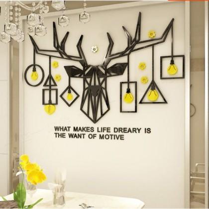 3D Acrylic Deer With Creative Lamp Wall Sticker - AC119