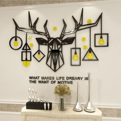 3D Acrylic Deer With Creative Lamp Wall Sticker - AC119
