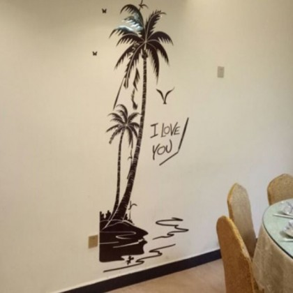 3D Acrylic Crystal Coconut Tree Wall Sticker-AC115