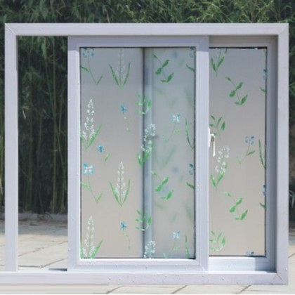 Leaves Frosted Privacy Glass Window Tinted Grass Flower Window Film Tint