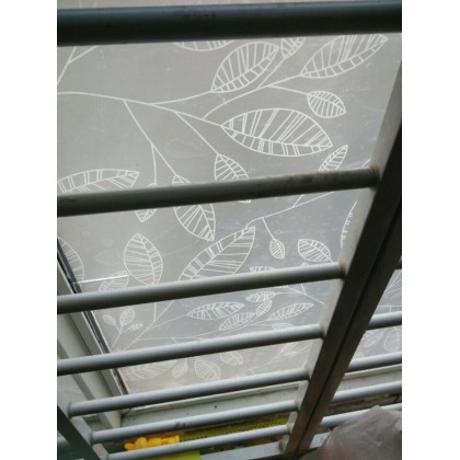 DIY White Leaves Background Privacy Glass Window Tinted Window Shading Film Tint-T53