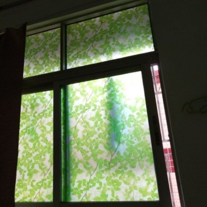 Green Leaves Frosted Glass Window Shading Film Tint-T52 [width:90cm]
