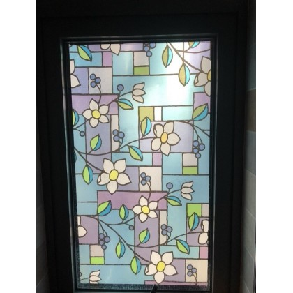 DIY Privacy Window Tinted White Flowers Frosted Glass Window Film Tinted for Home