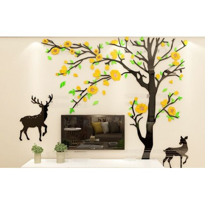 3D Acrylic Yellow Floral Japanese Wall Sticker-AC08
