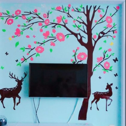 3D Acrylic Pink Blossom Floral Japanese Wall Sticker-AC08