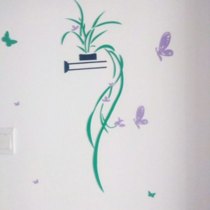 3D crystal acrylic sticker natural plant and butterfly (purple)- AC370