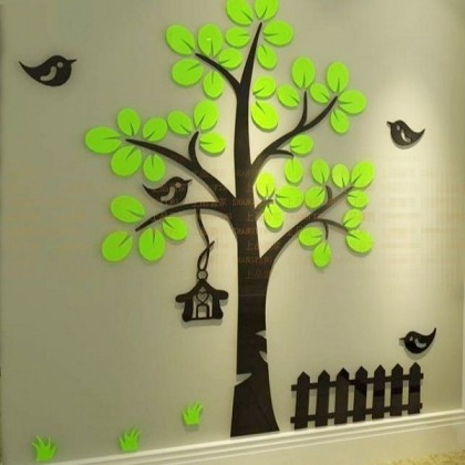 3D Crystal Acrylic Green Leaves Wall Stickers-AC355