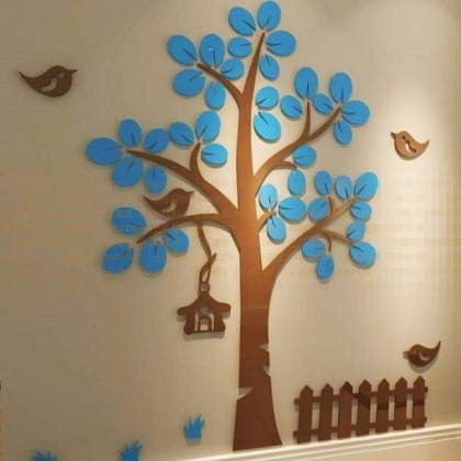 3D Crystal Acrylic Red/Blue Leaves Wall Stickers-AC355
