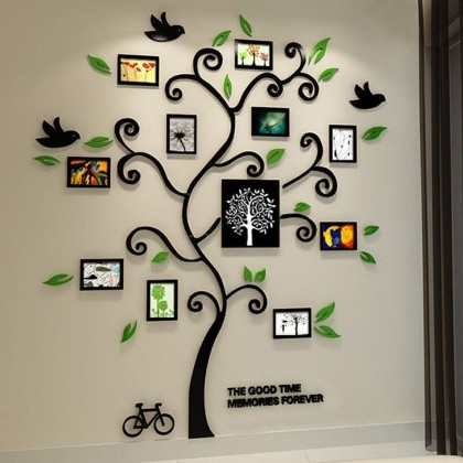 3D Acrylic Wall Sticker Family Tree Hanging Photo Frame Memory Forever Home Decoration Wall Art Sticker