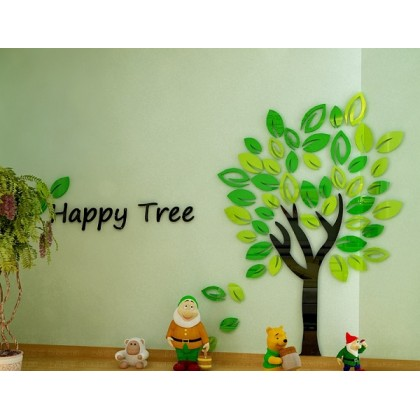 Happy Tree 3D Crystal Acrylic Wall Sticker-AC220