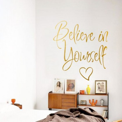 Believe In Yourself Wall Sticker (Golden)-TYGB500