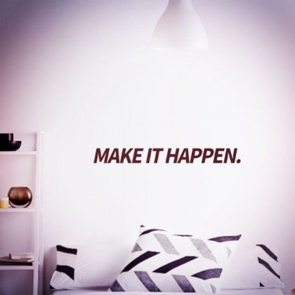 55cm x 5.5cm Office Inspirational Quotes Make It Happen Decorative Wall Stickers