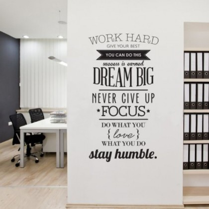 Office Inspirational Dream Sticker Letters Wall Decor Stickers Wall Decals Work hard Motivation Decal Sticker Family Bedroom Nursery Baby Room Art Murals Office
