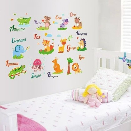 Cartoon Animals Alphabet Glow In The Dark Sticker- TYABQ9613