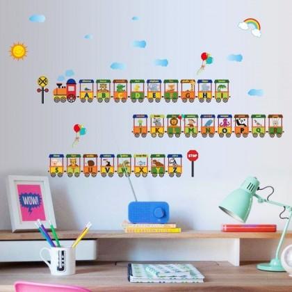 Cartoon Animals Alphabet Training Wall Sticker for daycare or kids deco