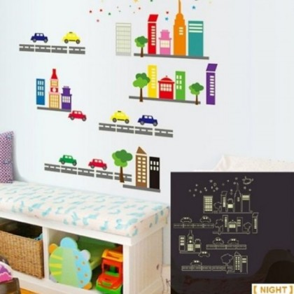 Glow In The Dark Cartoon City Wall Sticker-TYABQ9608