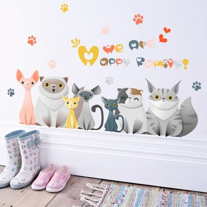 Happy Family Cats Background Wall Art Removable Sticker-TYZY281