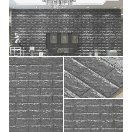 3D Grey Brick Pattern Wall Home Decoration -7077 Grey
