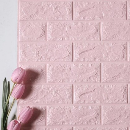 3D Pink Brick Pattern Wall Home Decoration -7077 Pink