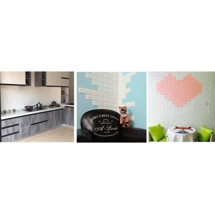 3D White Brick Pattern Wall Home Decoration Sticker {Size:70cmx77cm}