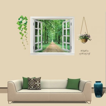 3D Fake Window Forest Trail Wall Decoration-TYAY823