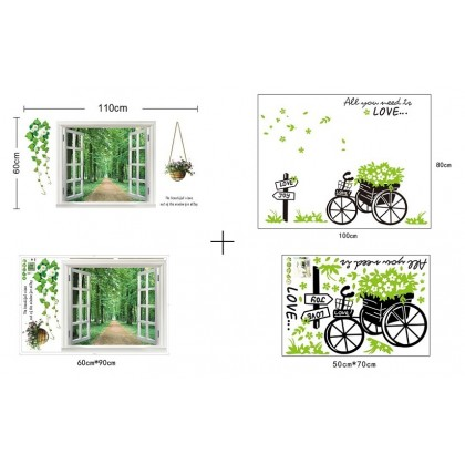 3D Fake Window Little Garden Wallsticker- TYAY823722