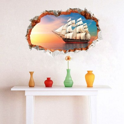 3D Fake Window Wall Stickers Sailboat Sea- TY3022