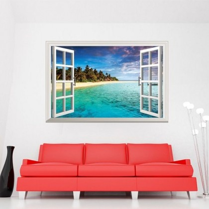 3D Sea Scenery Fake Window Wall Sticker - TY0998C