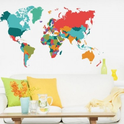 Colorful World Map Wall Art Decoration Sticker-TYMT1042