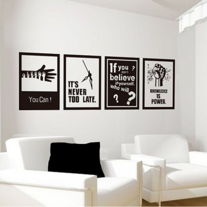 124cm x 37cm Black And White Frame Inspirational Quotes Sticker For Office Living Room