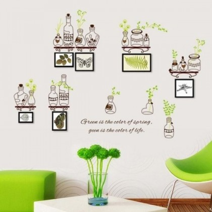 Natural Green Leaves Bottle Wall Sticker- TY7254