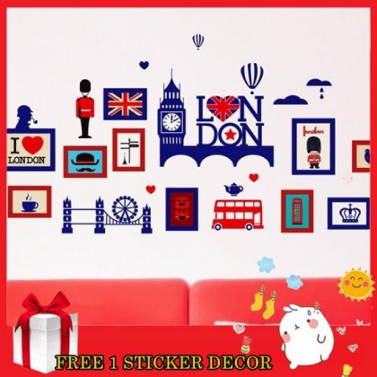 125cm x 68cm I Love London Wall Art Decoration Removable Sticker for Cafe, Coffee Shop, Living Room, Lounge