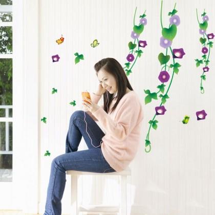 95cm x 120cm Purple Flower Vine Wall Art Decoration Sticker for Florist, Restaurant, Cafe, Bedroom and Living Room