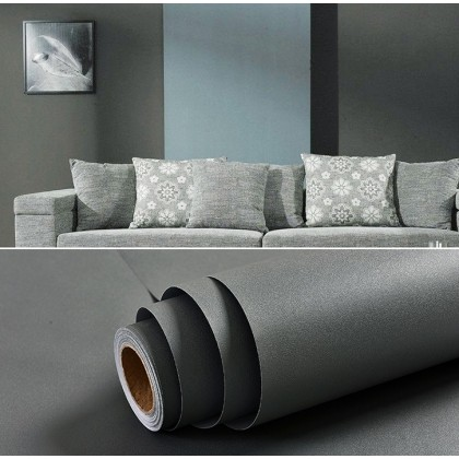 Matte Dark Grey Contact Paper Waterproof Wallpaper Sticker