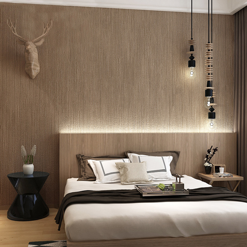 Bedroom Decor Malaysia: Japanese Style Dark Brown Wallpaper For Bedroom And Living