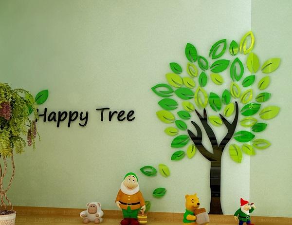 Acrylic Crystal Wall Decor: Happy Tree 3D Crystal Acrylic Wall Sticker-AC220